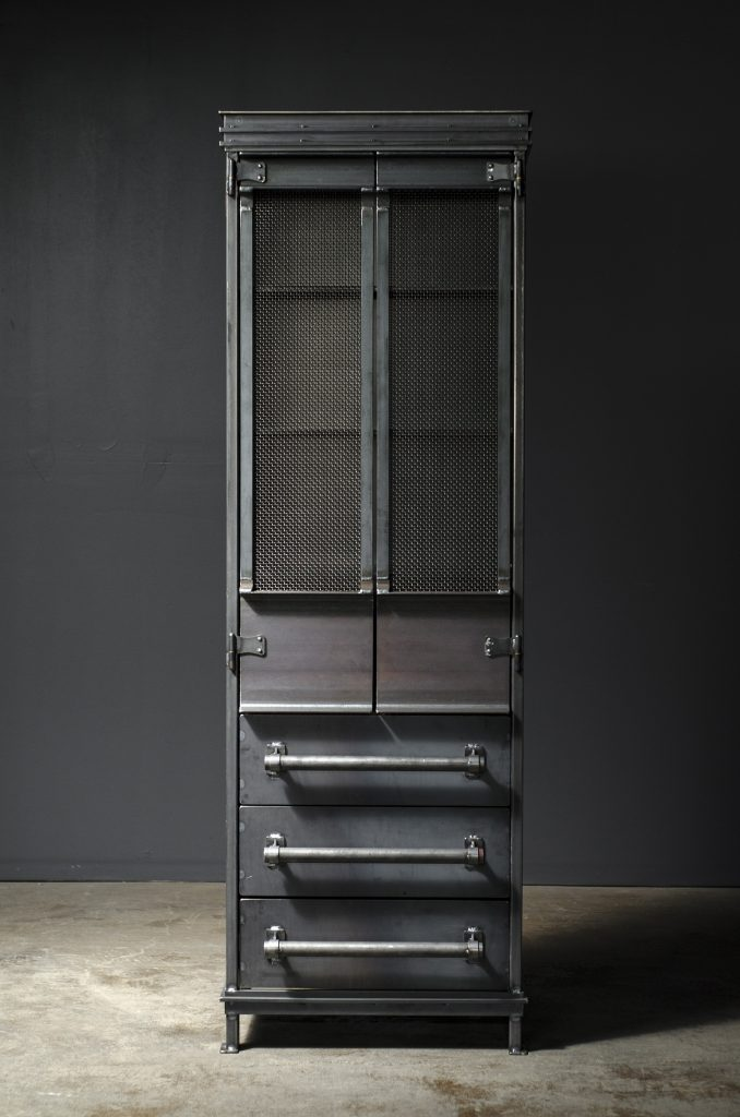 Tall Victorian industrial armoire with tall doors, four shelves and three drawers