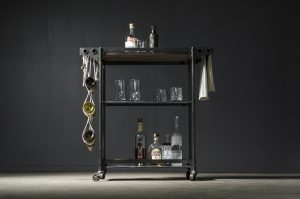Open bar cart made of steel and walnut with hemp wine sling