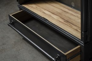 Ash wood base shelf and open drawer