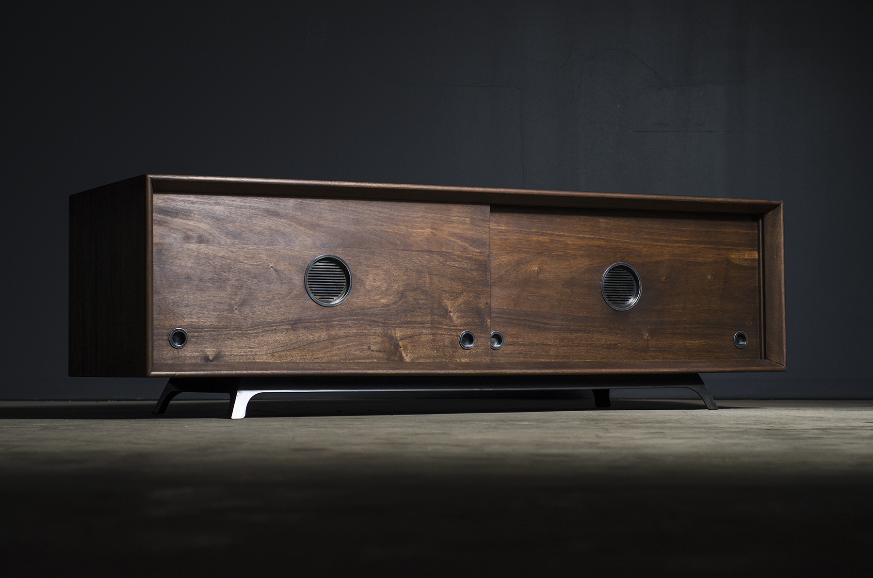 African mahogany and steel media console with mid-century modern style