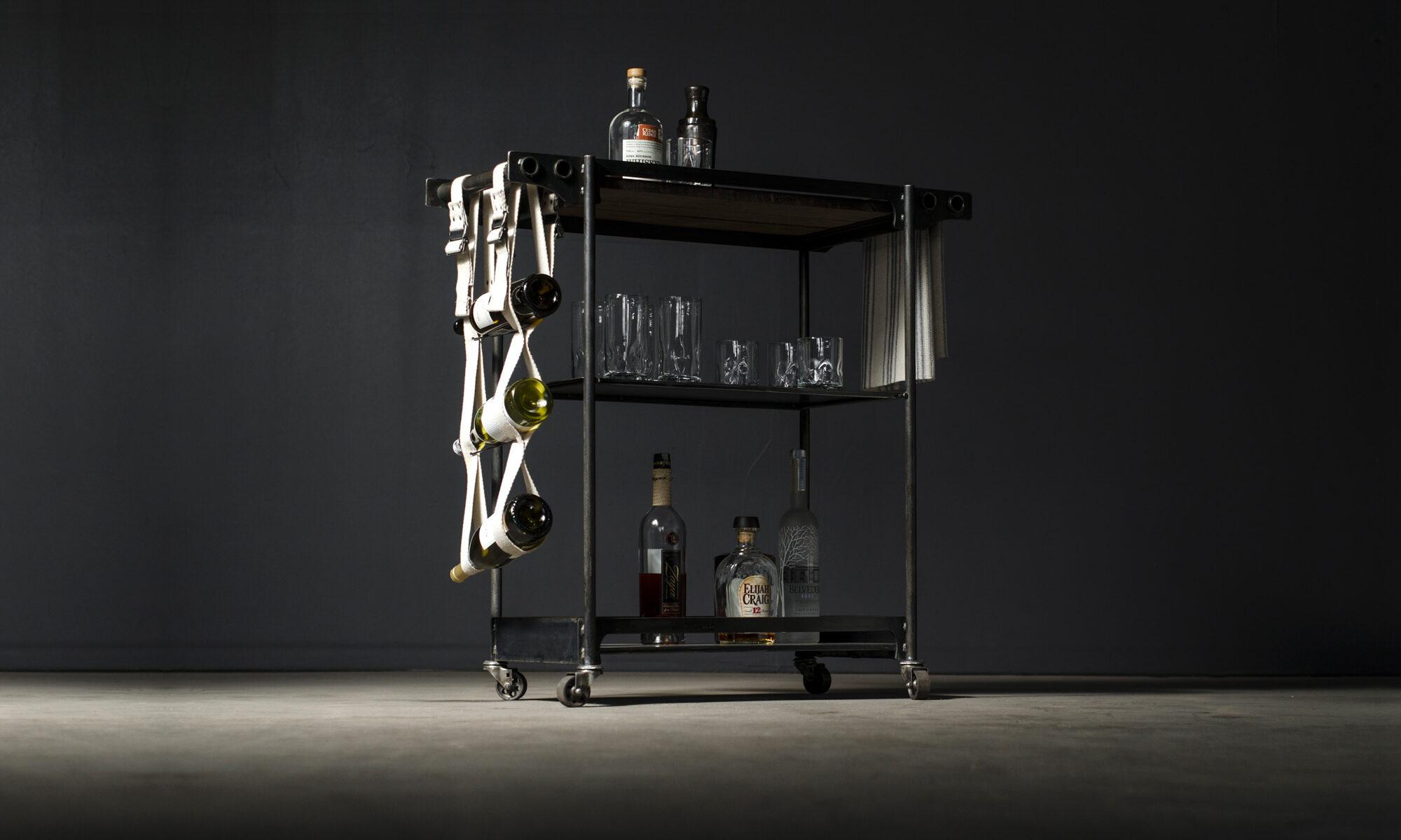 Open bar cart made of steel & walnut with hemp wine sling