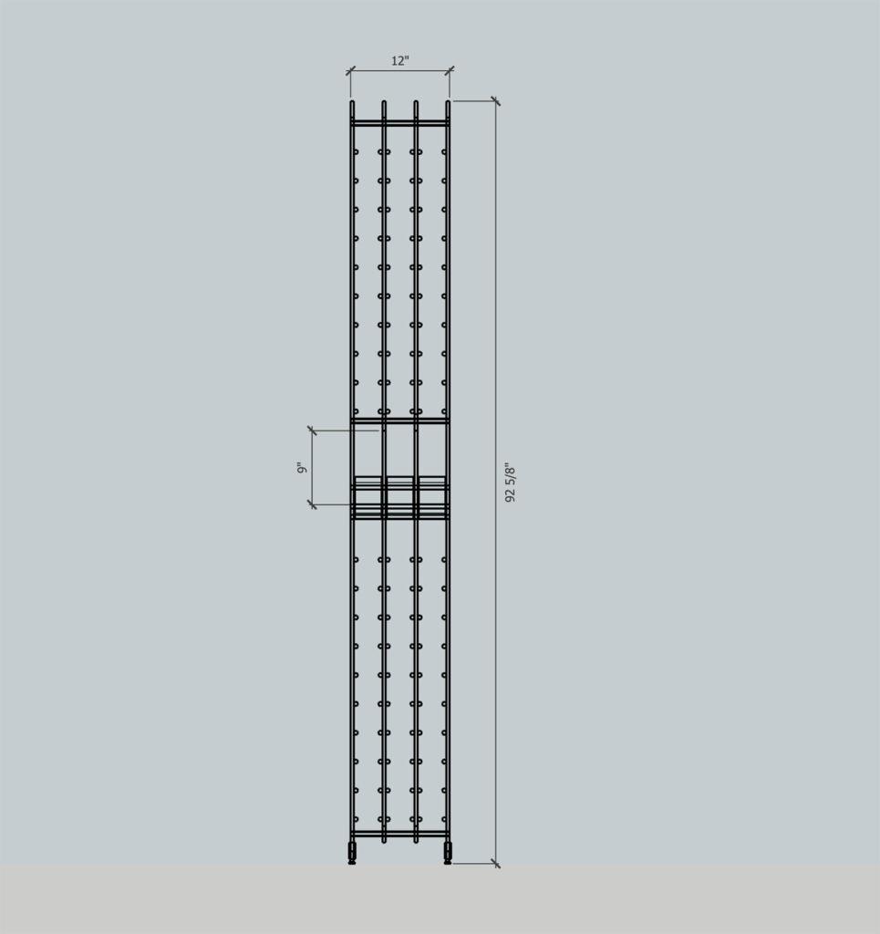 blueprint sketch of wine rack