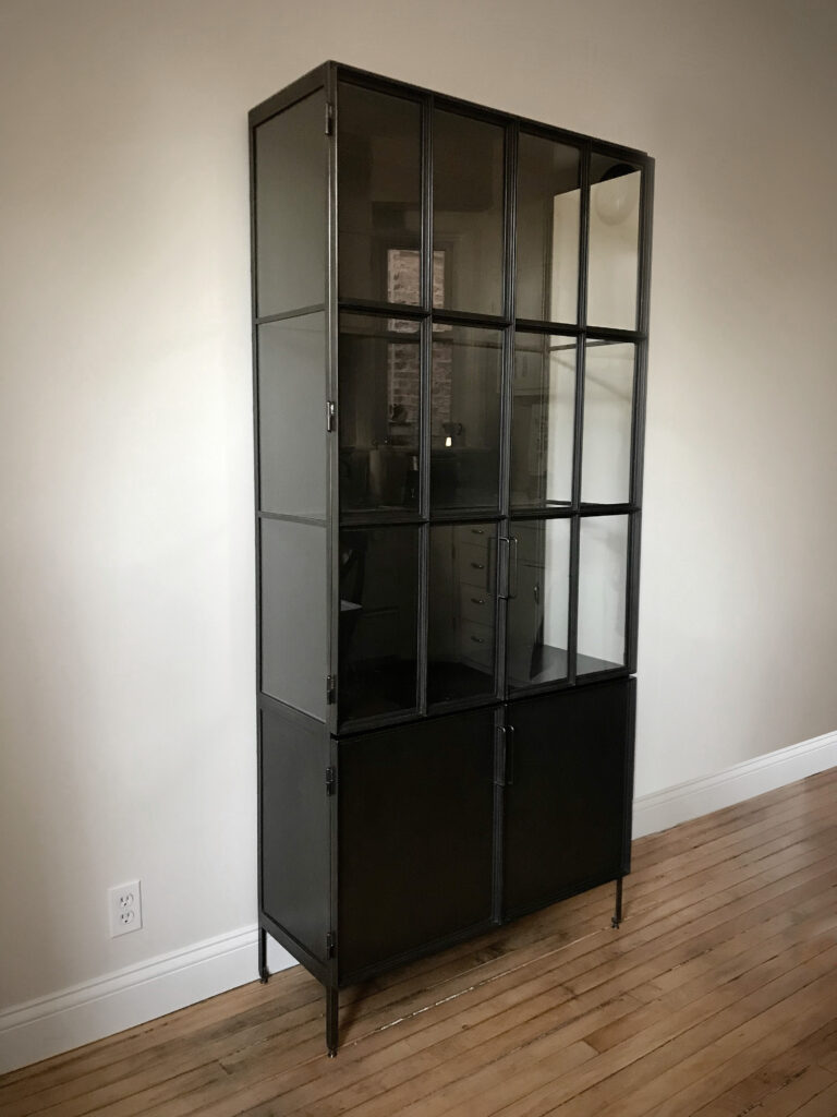 Glass and steel cabinet