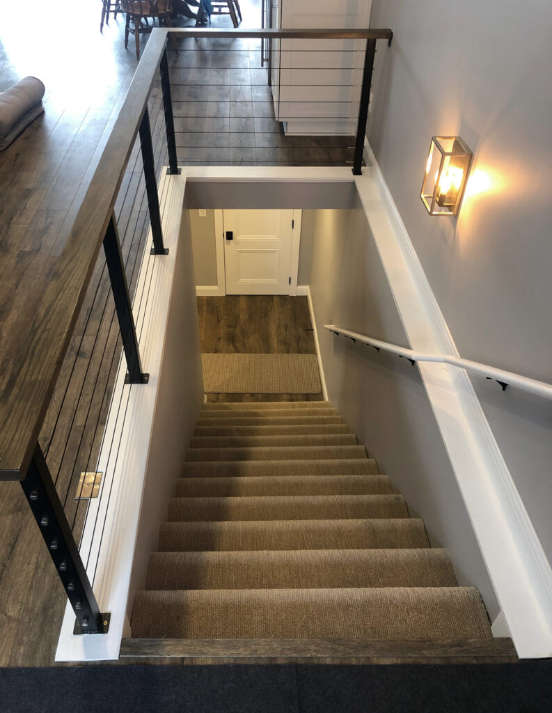 Staircase railing and steps